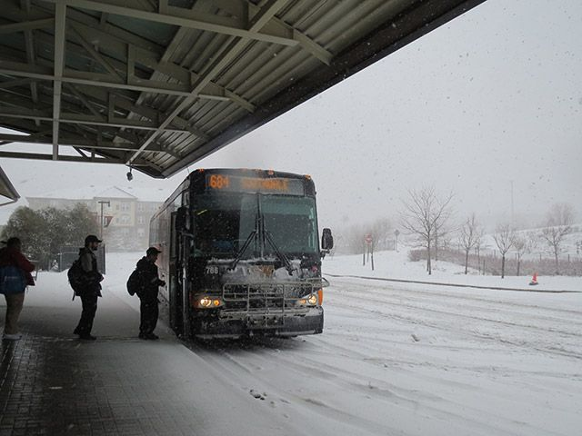 Snow Bus Loading